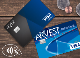 Image showing the contactless payment process using an Arvest Debit Card