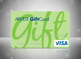 Prepaid Visa® Gift Cards from Arvest Bank.
