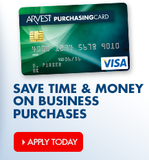 Use an Arvest Purchasing Card for your business.