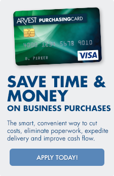 Arvest purchasing cards help save time and money on business purchases.