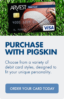 Choose to purchase with pigskin! Arvest offers a variety of sports debit card designs. Order today.