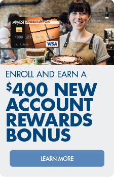 Enroll and earn a $400 new account reward bonus.  Learn more about the corporate credit card.
