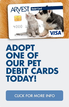 Click here to adopt one of our Pets debit cards today!