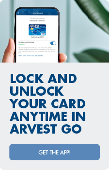 Lock and unlock your card anytime in Arvest Go.  Get the app!