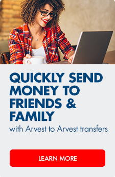 Transfer money between Arvest bank accounts.