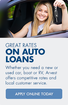 Apply for an auto loan from Arvest Bank.