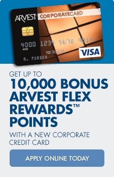 Apply online for an Arvest Corporate Credit Card and earn up to 10,000 Flex Rewards Points