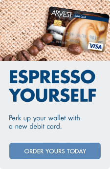 Choose your favorite Arvest debit card from over 200 special designs.