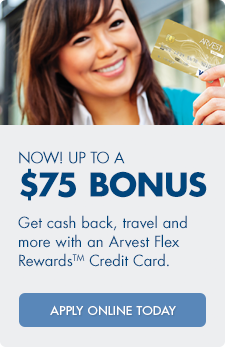 Open a new Arvest Credit Card and earn up to $75 in rewards points.