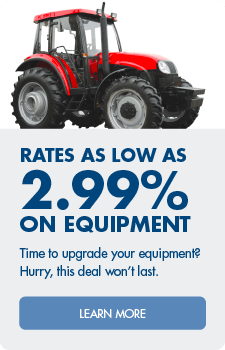 Great rates such as 2.99% on equipment.  Apply now!