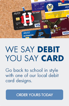 Pick from over 200 uniquely designed debit cards just for your Arvest Bank checking account.
