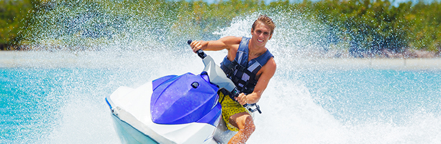 person riding a personal watercraft